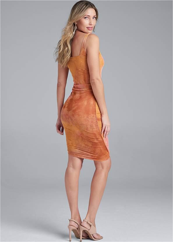 Back View Ruched Mesh Mini Dress