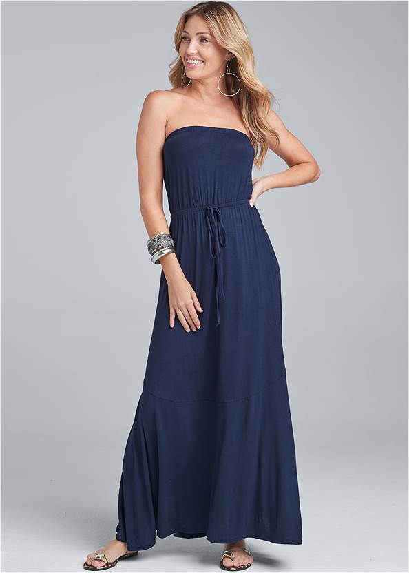 Strapless Maxi Dress,Jewel Toe Loop Lucite Sandals,Braided Double Strap Mules,Medallion Earrings,Studded Round Crossbody