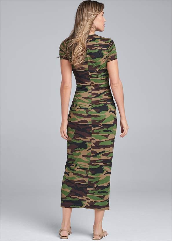 Back View Twist Front Camo Maxi Dress
