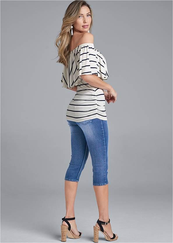 Back View Striped Off-Shoulder Top
