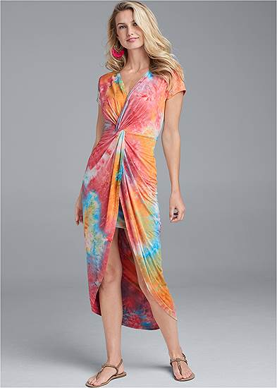 Tie Dye Twist Front Dress