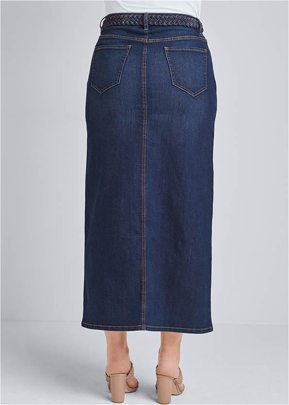 Back View Front Slit Jean Maxi Skirt