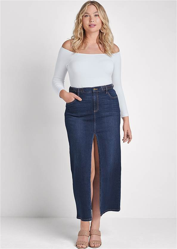 Front Slit Jean Maxi Skirt,Off-The-Shoulder Top,Easy Halter Top,Braided Double Strap Mules,Mixed Earring Set