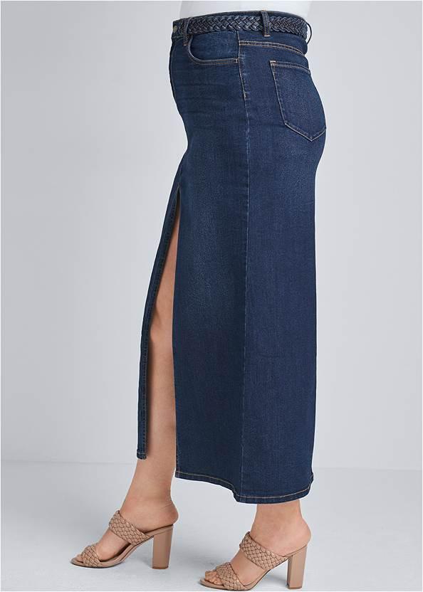 Alternate View Front Slit Jean Maxi Skirt