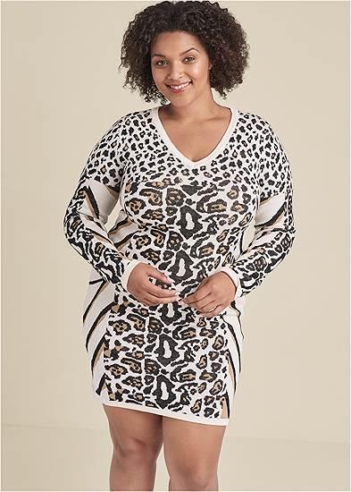 Plus Size Animal Print Sweater Dress