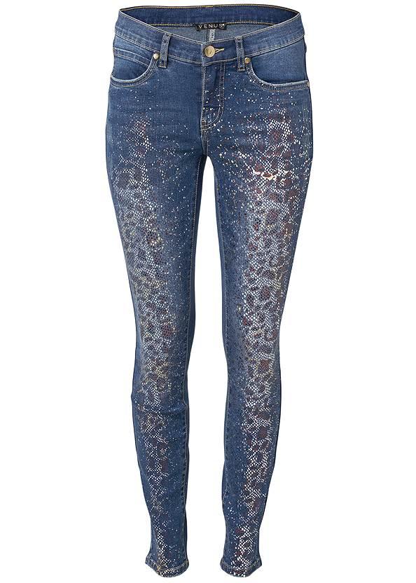 Alternate View Metallic Leopard Print Jeans