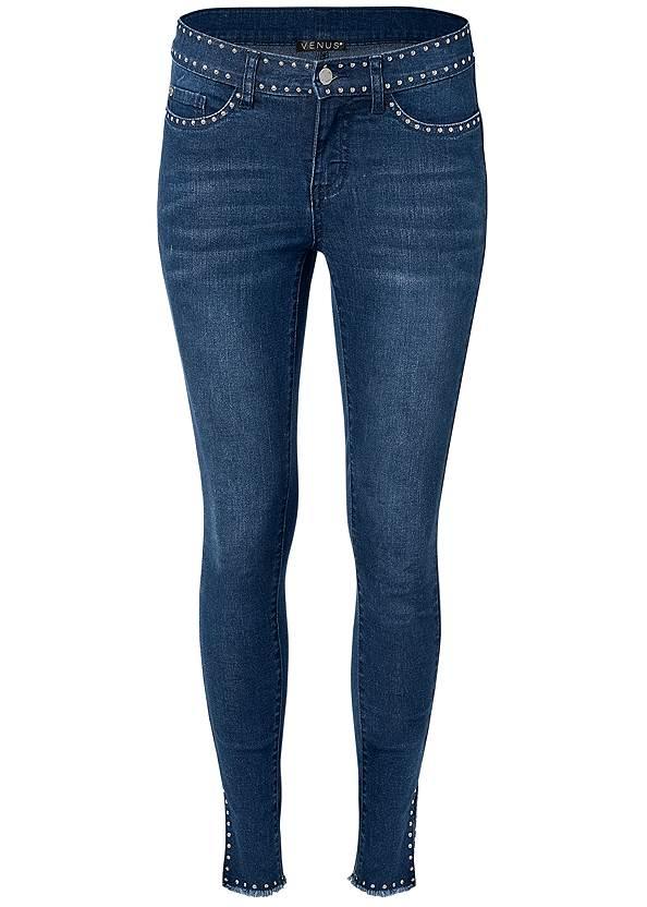Alternate View Studded Hem Jeans