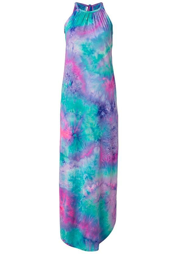 Alternate View Tie Neck Maxi Dress