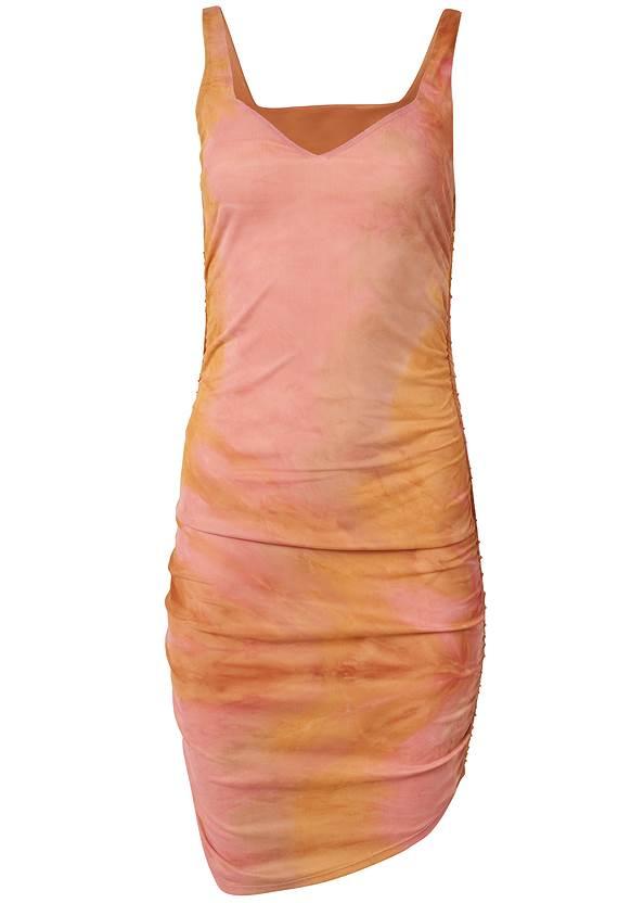 Alternate View Ruched Mesh Mini Dress