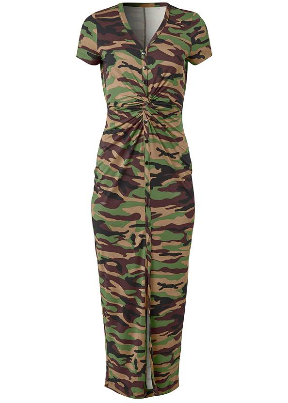 Alternate View Twist Front Camo Maxi Dress