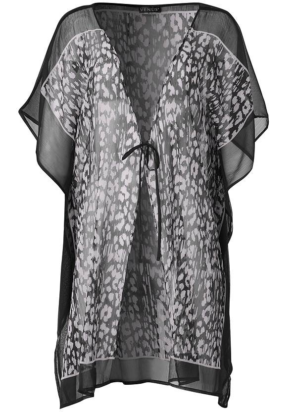 Ghost with background  view Front Tie Kimono Cover-Up