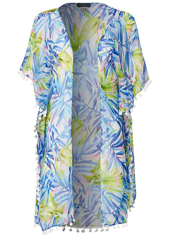 Ghost with background  view Pom-Pom Fringe Cover-Up