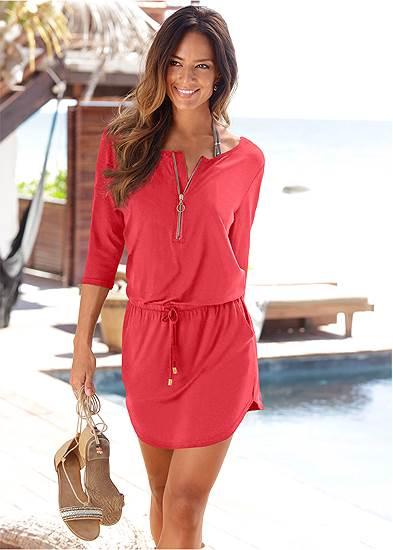 Plus Size Zip Detail Casual Dress