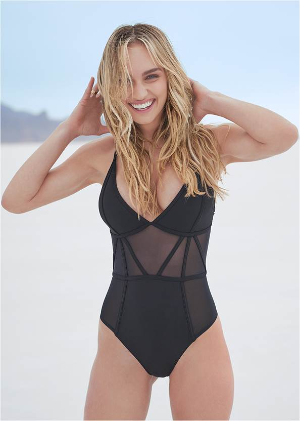Cropped front view Sports Illustrated Swim™ Caged One-Piece