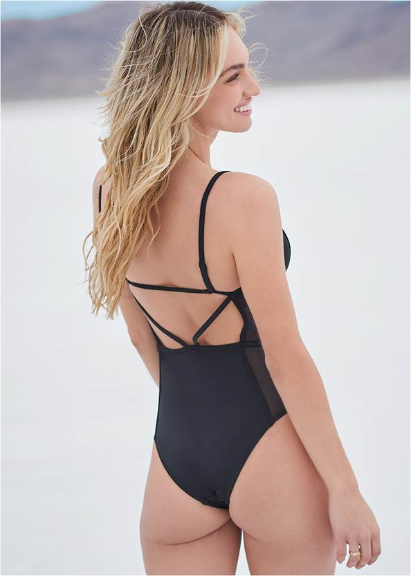 Cropped back view Sports Illustrated Swim™ Caged One-Piece