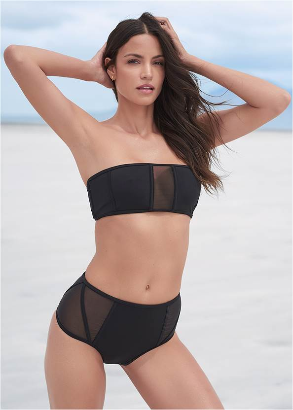 Sports Illustrated Swim™ Caged Bandeau Top,Sports Illustrated Swim™ Cheeky High Rise Bottom