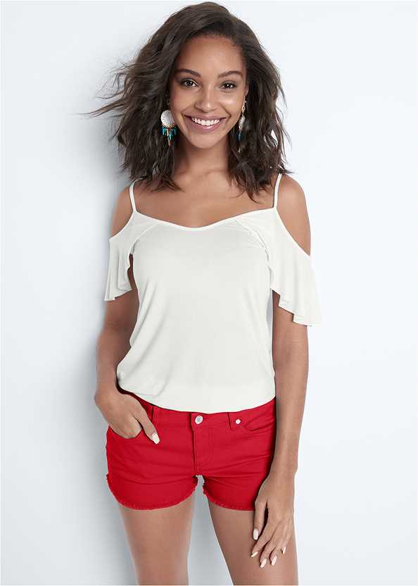 Frayed Cut Off Jean Shorts,Ruffle Cold Shoulder Top