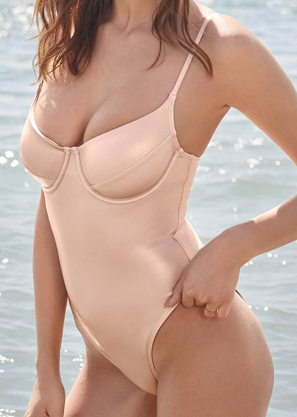 Detail front view Sports Illustrated Swim™ Unlined Underwire One-Piece