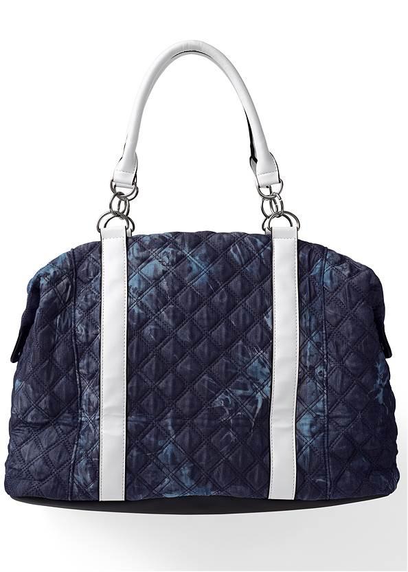 Flatshot front view Paisley Denim Weekender Bag
