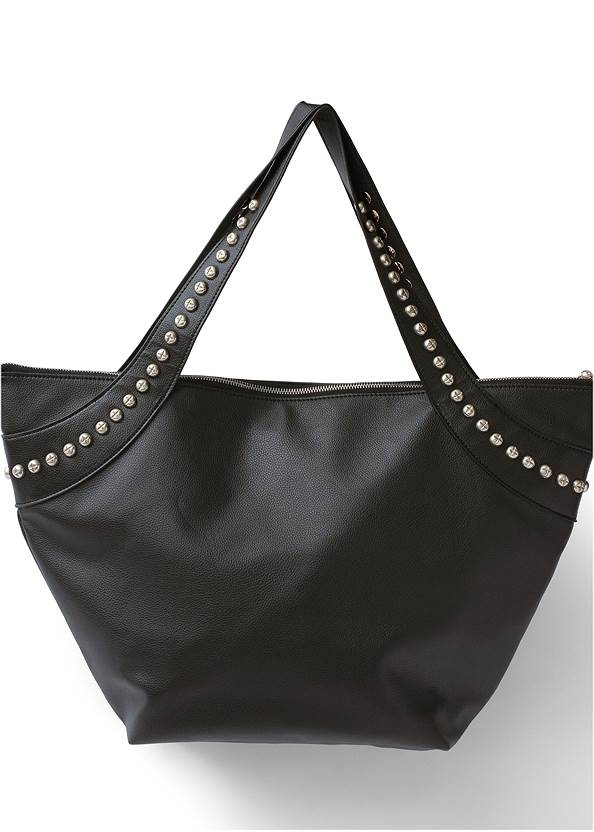 Studded Faux Leather Tote,Mid Rise Color Skinny Jeans