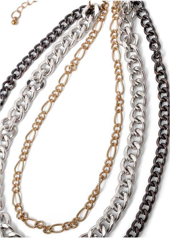 Flatshot  view Mixed Metal Chain Necklace
