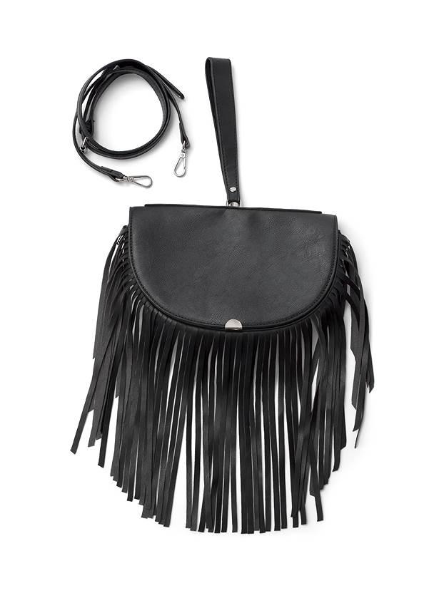 Fringe Wristlet Bag,Off-The-Shoulder Maxi Dress,Whipstitch Peep Toe Booties,Etched Boho Hoop Earrings