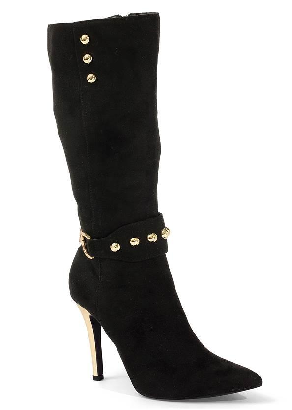Gold Statement Heel Boots,Ribbed Cold Shoulder V Neck Sweater,Mid Rise Color Skinny Jeans