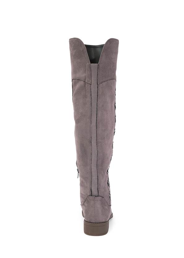 Back View Stitched Knee High Boots