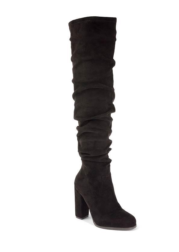 Slouchy Block Heel Boots,Mesh Detail Top,Bum Lifter Jeans,Pearl Hoop Earrings