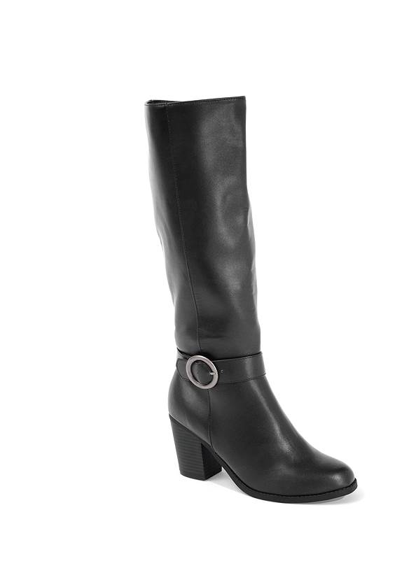 Faux Leather Buckle Boots