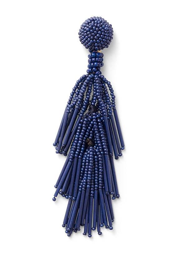 Beaded Fringe Earrings,Jean Jacket,Floral Handkerchief Top,Mid Rise Color Skinny Jeans