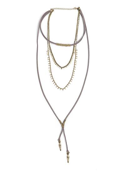 Layered Faux Suede Necklace