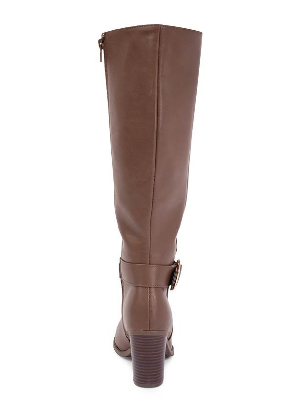 Shoe series back view Faux Leather Buckle Boots