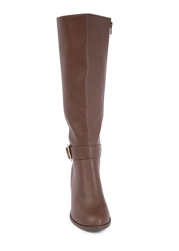 Shoe series front view Faux Leather Buckle Boots