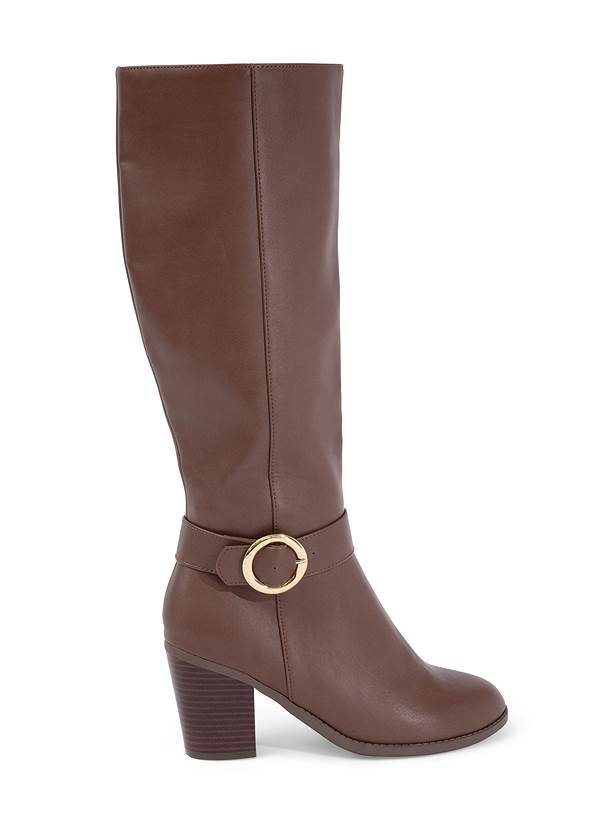 Shoe series side view Faux Leather Buckle Boots
