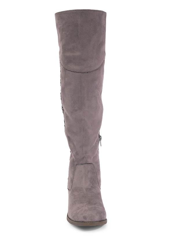 Front View Stitched Knee High Boots