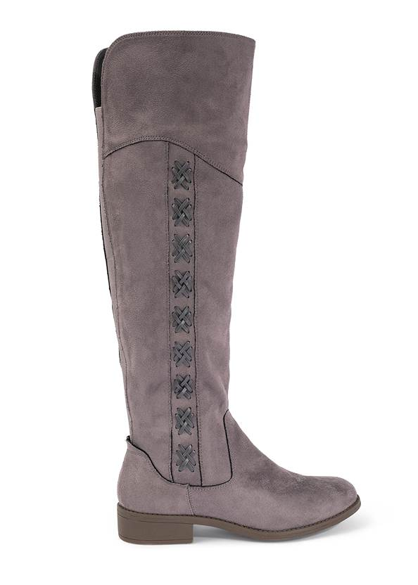 Alternate View Stitched Knee High Boots