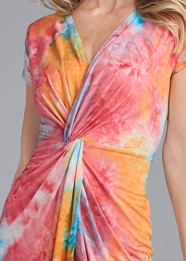 Detail front view Tie Dye Twist Front Dress