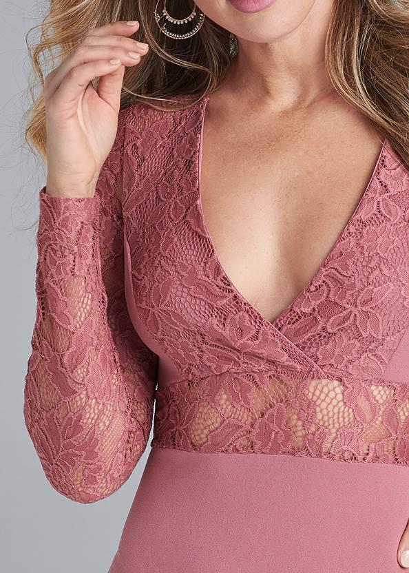 Detail front view Lace Detail Bodycon Dress