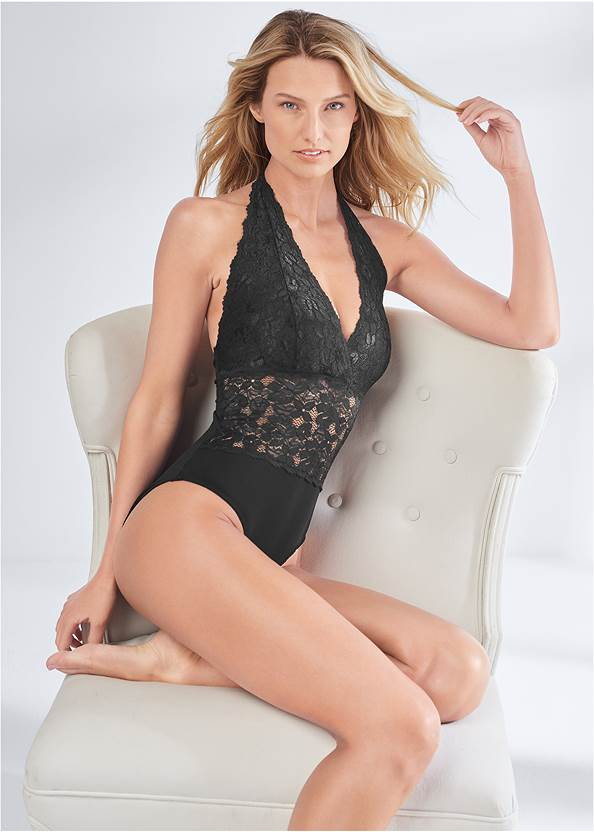 Cropped front view All Over Lace Plunge Teddy