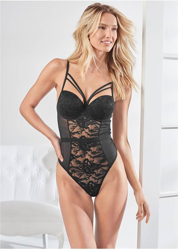 Cropped front view Strappy Teddy With Cups