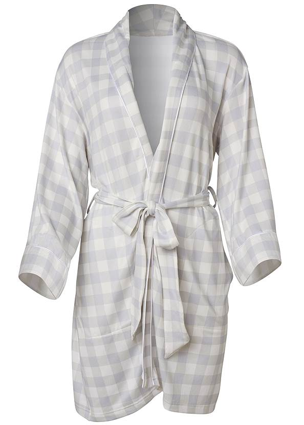 Ghost with background  view Shawl Collar Kimono Robe