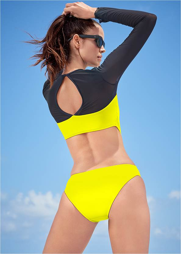 Back View Sports Illustrated Swim™ Mesh Long Sleeve One-Piece