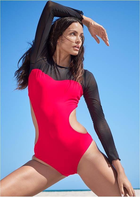 Alternate View Sports Illustrated Swim™ Mesh Long Sleeve One-Piece