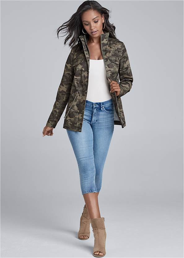 Camo Jacket,Basic Cami Two Pack,Ripped Capri Jeans,Perforated Ring Heels,Etched Boho Hoop Earrings