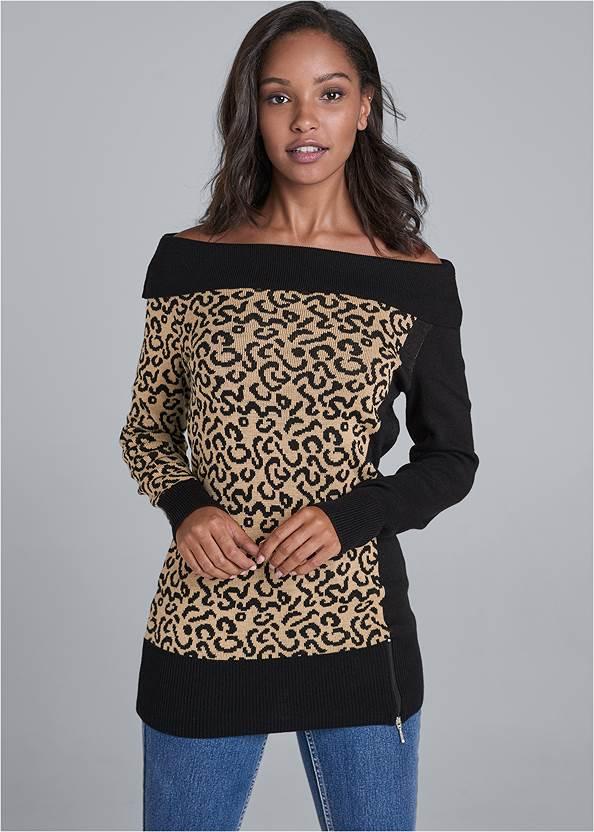 Leopard Sweater,Mid Rise Color Skinny Jeans,Leopard Cuffed Jeans,Slouchy Block Heel Boots,Raffia Hoop Earring Set,Leopard Fringe Crossbody