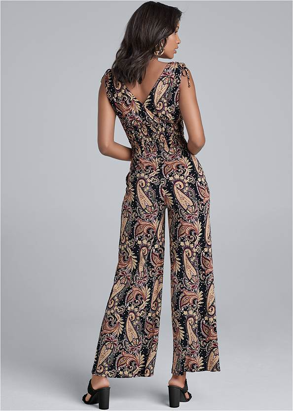 Back View Paisley Printed Jumpsuit
