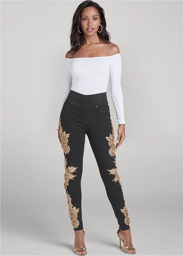 Floral Embellished Jeggings,Off-The-Shoulder Top,Ribbed Long Sleeve Top,Sexy Ankle Strap Heels,Pearl Hoop Earrings,Animal Chain Crossbody Bag