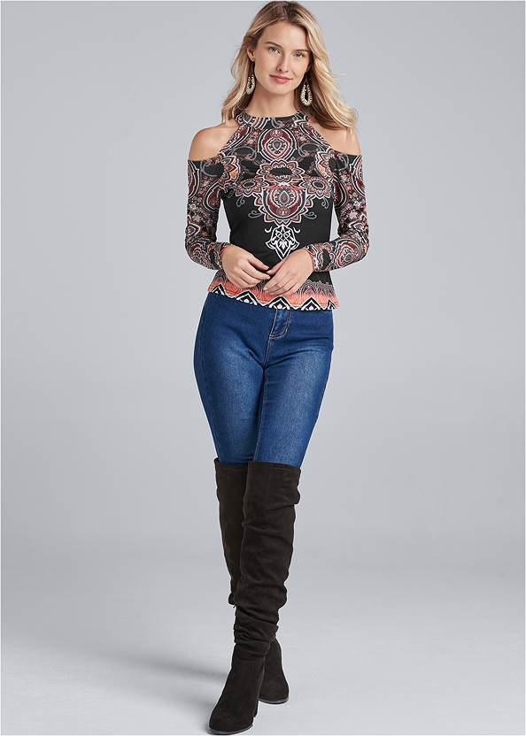 Alternate View Paisley Cold-Shoulder Top