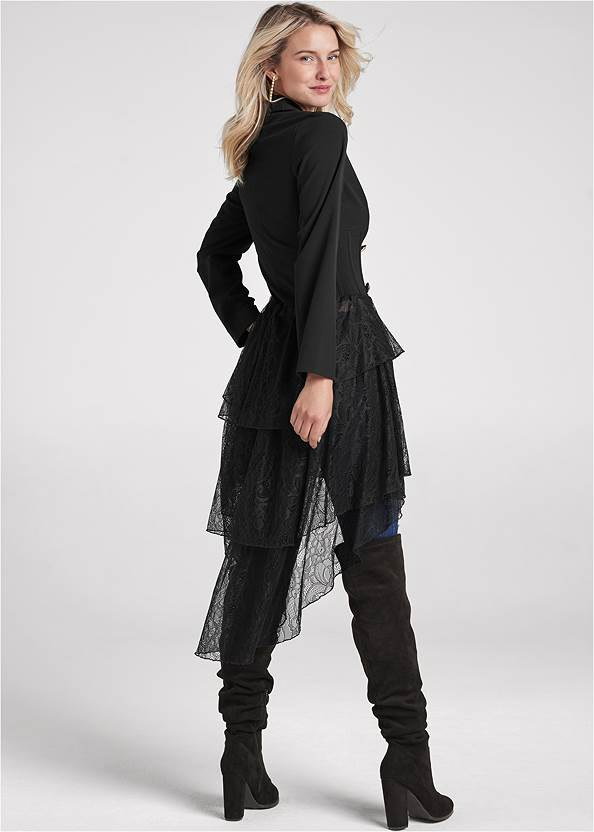 Back View High-Low Lace Train Jacket